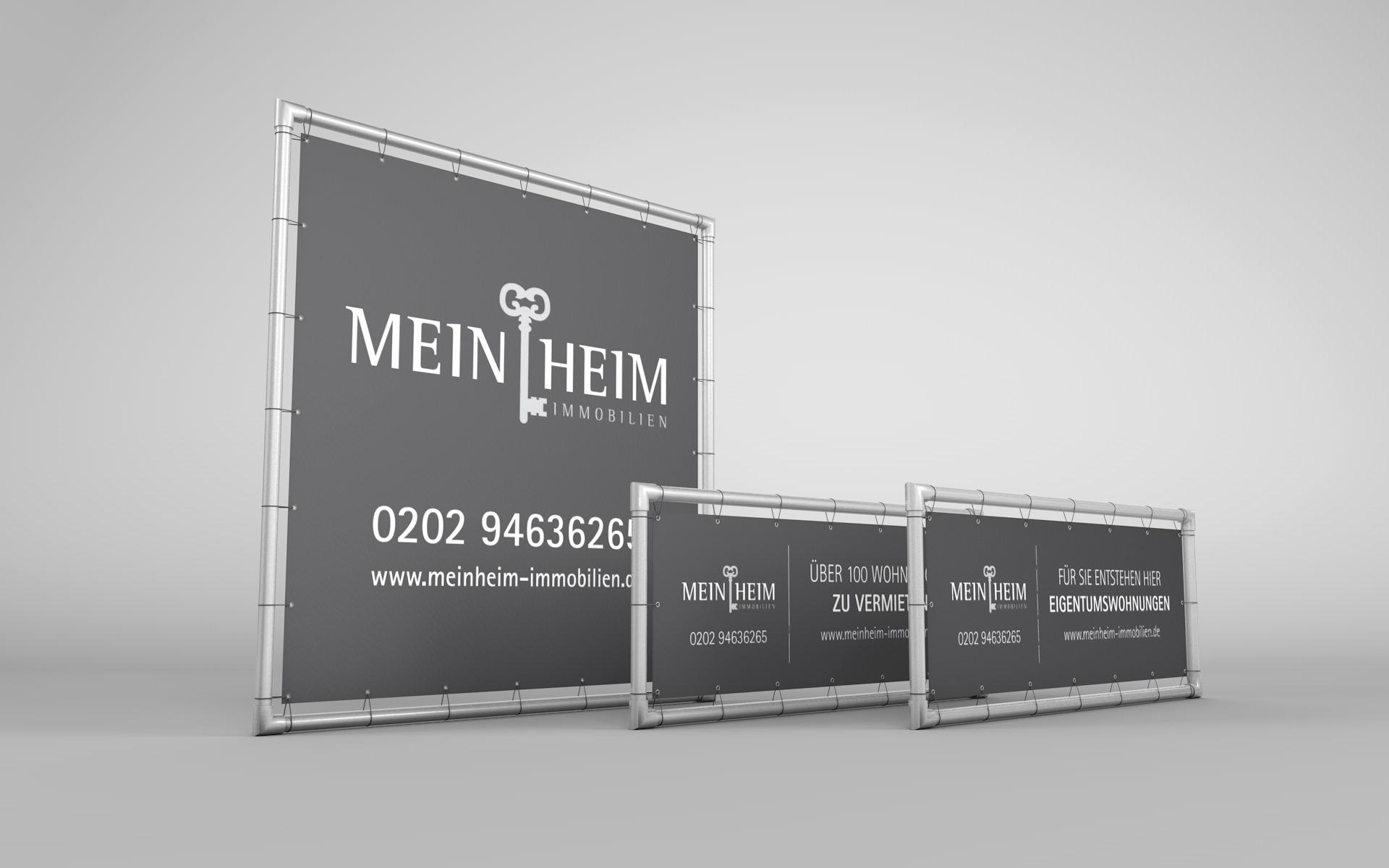 PVC-Banner passend zur Corporate Design für MeinHeim Immobilien