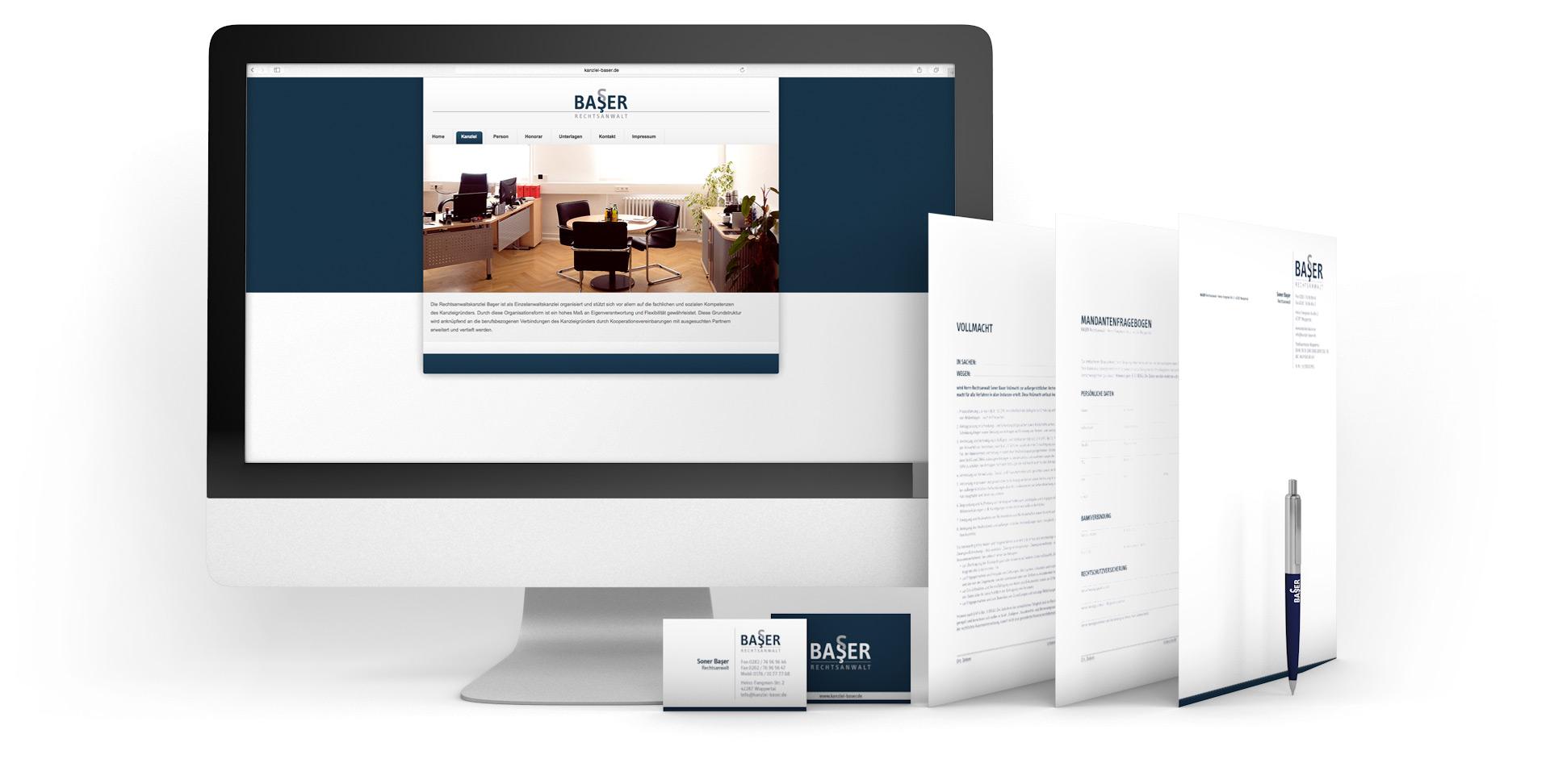 Produkte aus dem Corporate Design und die Website der Kanzlei Baser