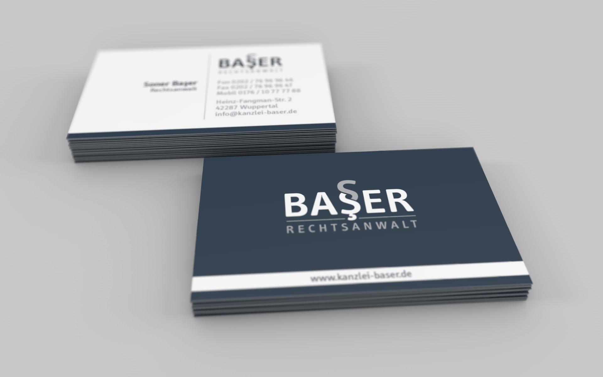Visitenkarten vom Corporate Design der Kanzlei Baser