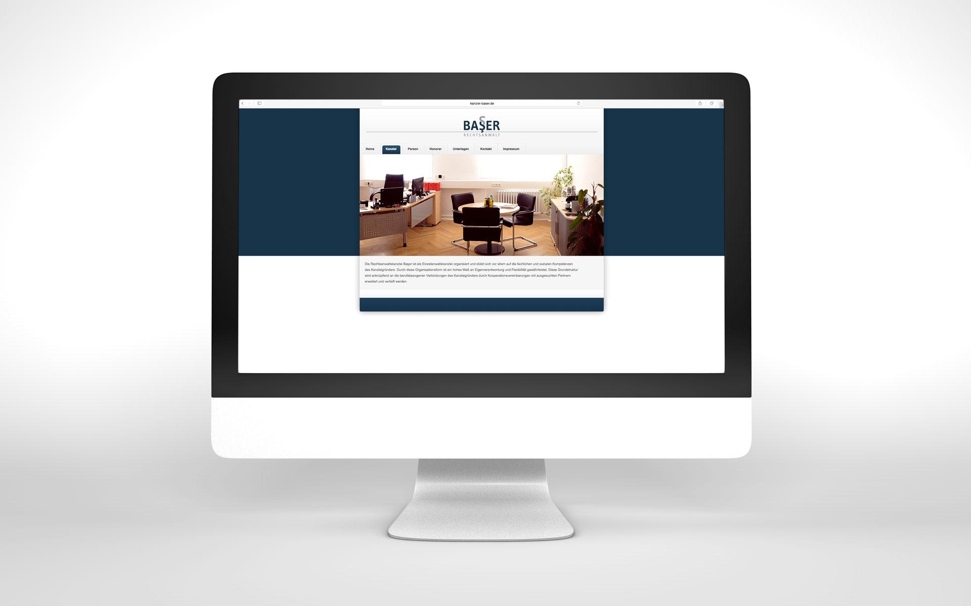 Website passend zum Corporate Design der Kanzlei Baser