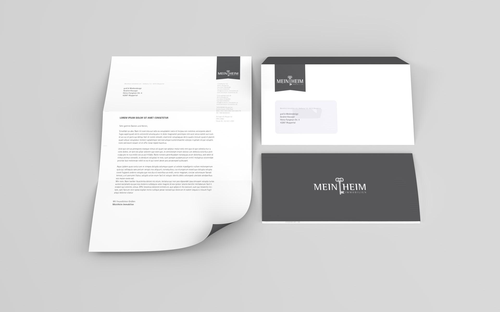 Briefbogen und Umschlag aus dem Corporate Design für MeinHeim Immobilien
