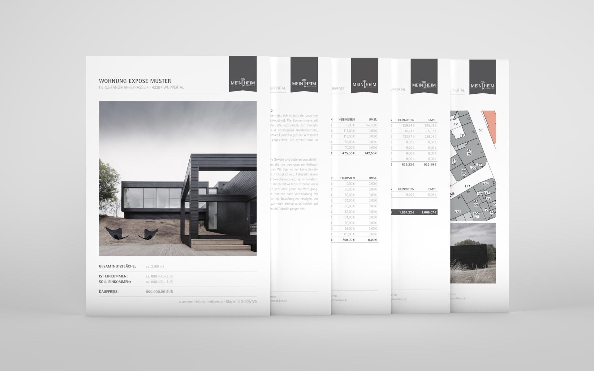 Exposé passend zum Corporate Design für MeinHeim Immobilien