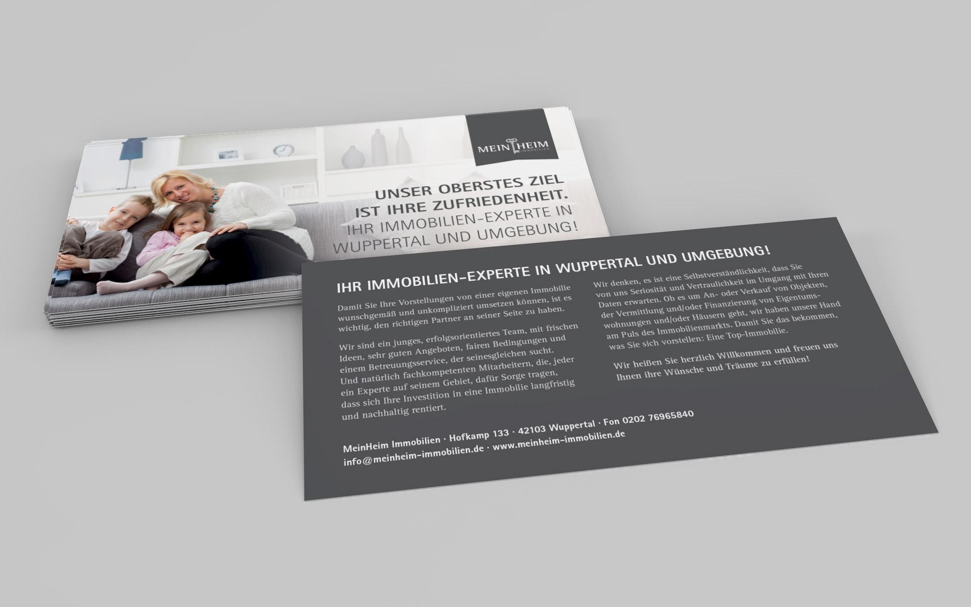 Flyer für MeinHeim Immobilien von graf.ik Mediendesign