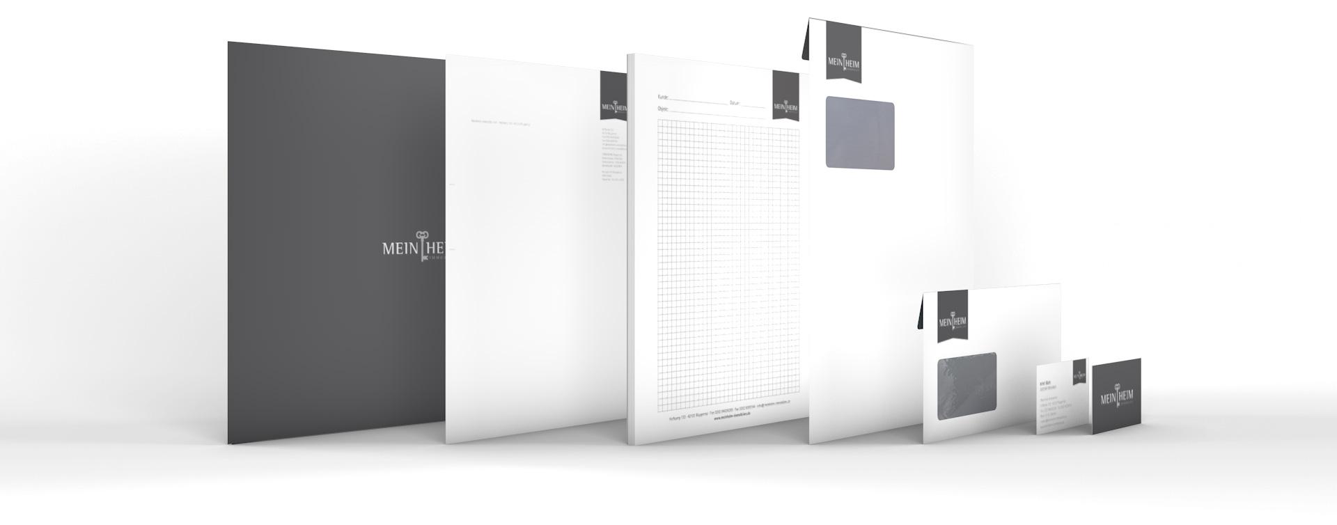 Produkte aus dem Corporate Design für MeinHeim Immobilien