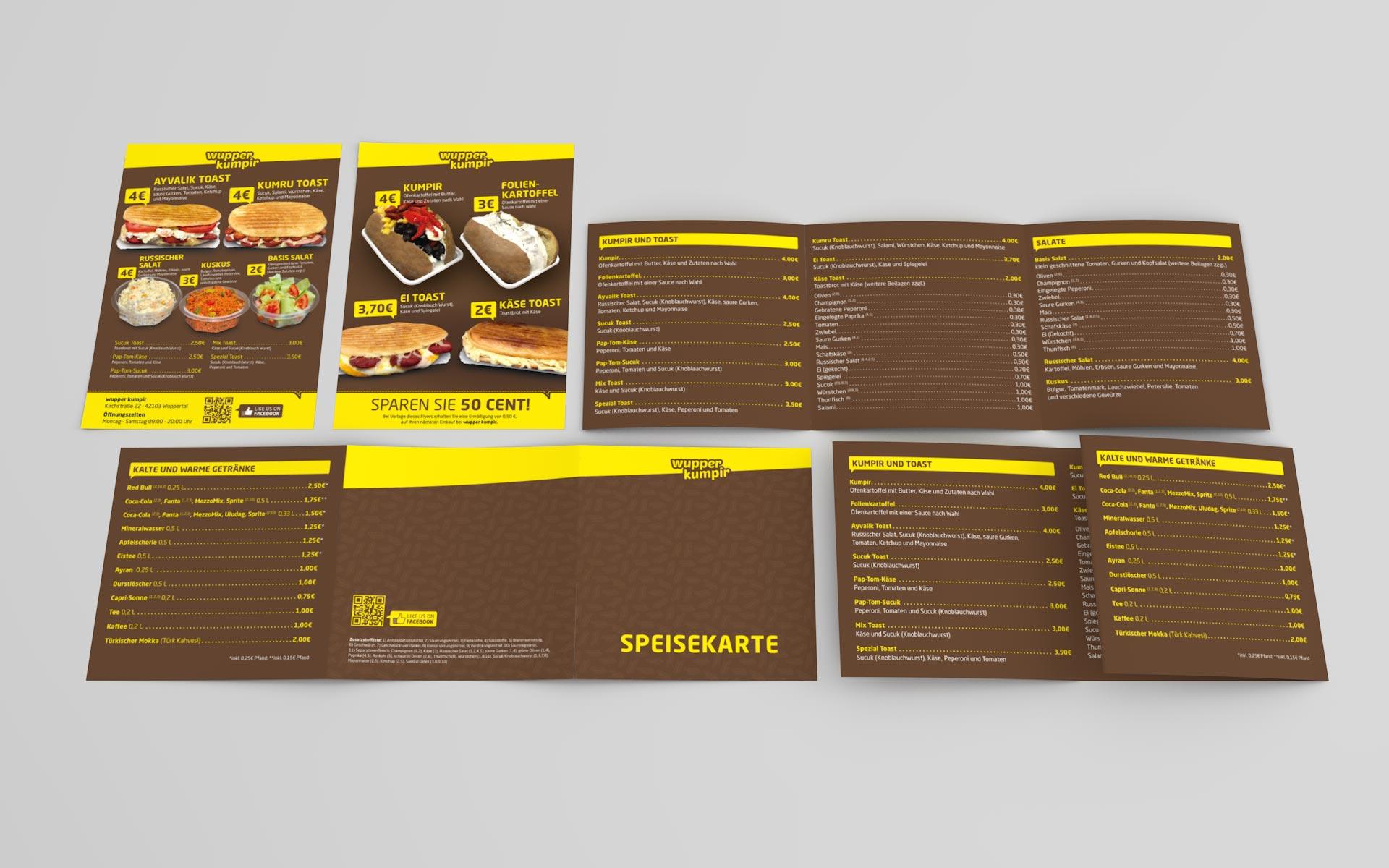 Flyer und Speisekarte für wupper kumpir